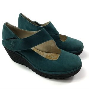 FLY LONDON Mary Jane Wedge Teal 38